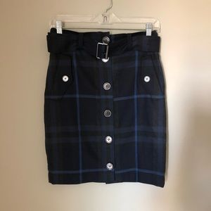 Burberry Brit Plaid Wool Button Front Skirt